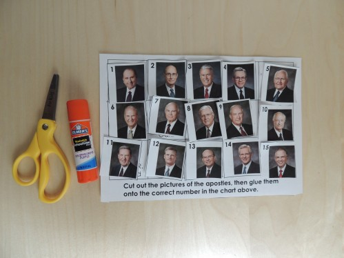 General Conference Activity for Preschoolers - Cut and paste apostles page.
