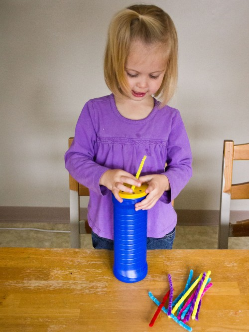Fun Toddler Activity: Put pipe cleaners through hole punched holes in the lid of a pringles can.