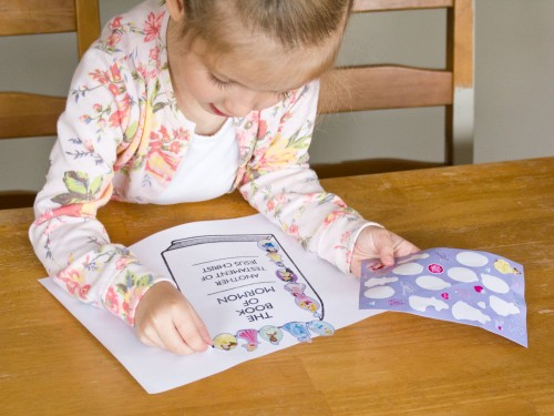 General Conference sticker art pages for preschoolers. Use small stickers to cover the picture outlines.
