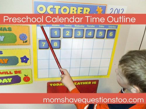 Preschool Calendar Time Outline -- Days of the Week