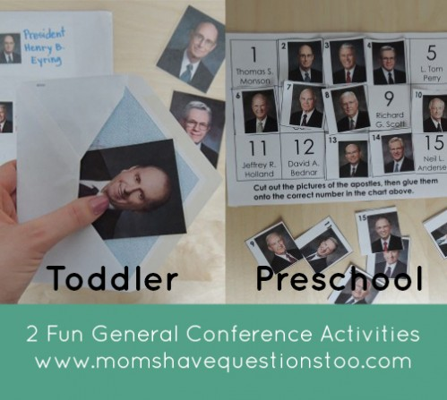 Two awesome general conference activities for toddlers and preschoolers. All printables are free and included in the post. Envelope picture match for toddlers and Cut and Paste Apostles for preschoolers.