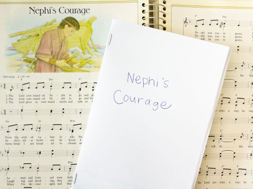 Fun idea that's perfect for General Conference - illustrate a primary song. Fold some paper in half, write the words to a primary song across the bottom and have your child draw a picture to go along with the words.