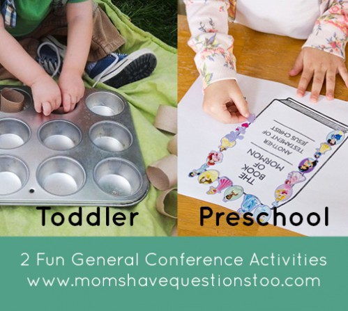 General Conference activities for toddlers and preschoolers! Muffin tin sorting and sticker art pages. Printables included.