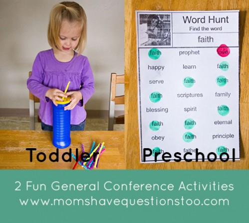 Two General Conference Activities that will keep your preschooler and toddler busy. Print off the free word hunt worksheets and give your toddler some pipe cleaners to keep them both happy and busy during General Conference.