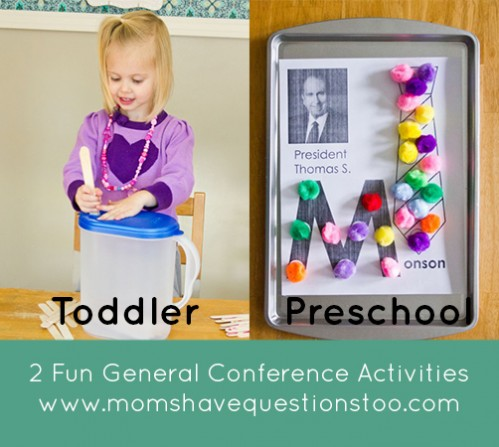 Two super awesome General Conference ideas that are perfect for young children. Free magnet page printable for ALL apostles is included in post!