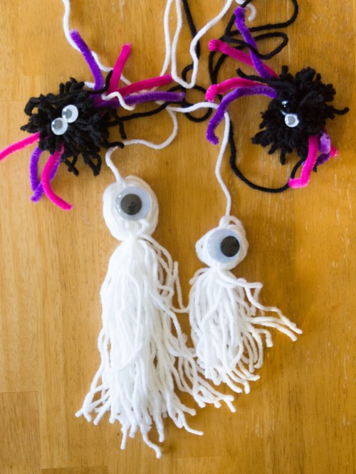 Pom Pom Halloween Craft Ghosts
