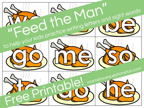Feed the Man Letter and Sight Word Activity -- Free Printable!