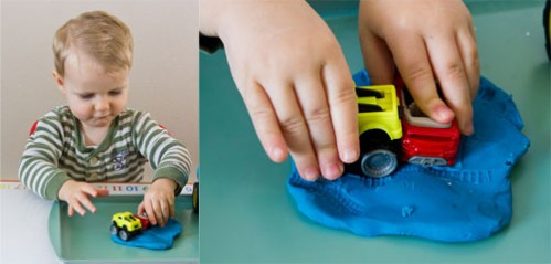 Tire Tracks in Playdough - Car Themed Tot School Trays -- Moms Have Questions Too