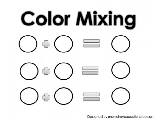 Free Printable! Toddler Color Games Mixing Sheet -- Moms Have Questions Too