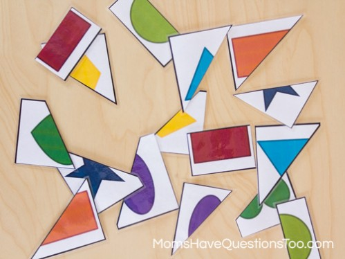 2 Part Shape Puzzles to Help Toddlers and Preschoolers Learn Shapes - Moms Have Questions Too