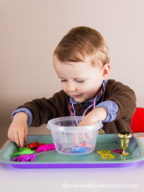 Treasure Sorting - Montessori Pirate Themed Tot School Trays - Moms Have Questions Too