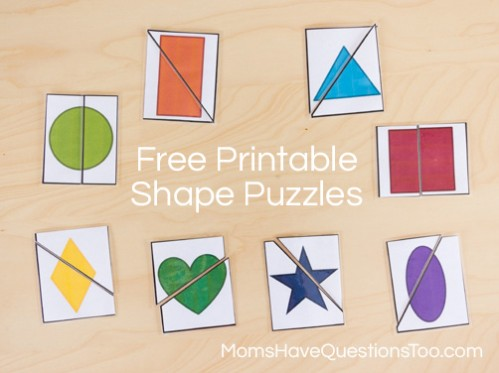 Two Part Shape Puzzle Printables - Moms Have Questions Too