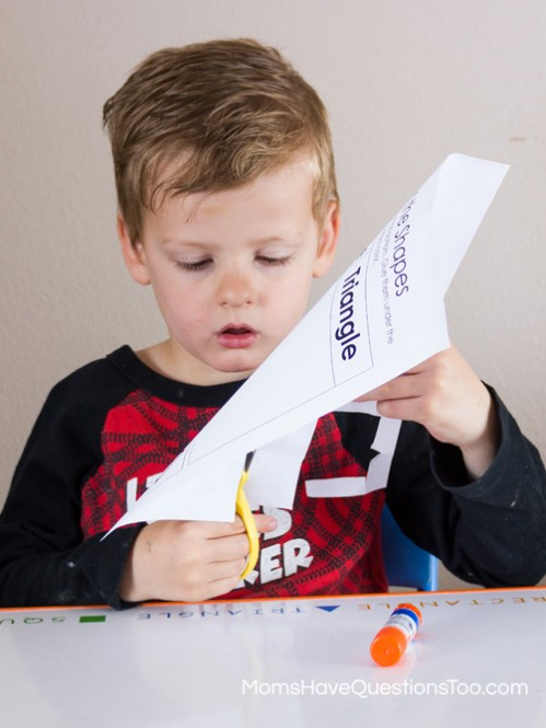 Cutting out Shapes - Shape Sorting Cut and Paste Activity - Moms Have Questions Too