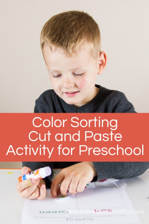 Fun Sorting Colors Cut and Paste Pages for Preschool - Moms Have Questions Too
