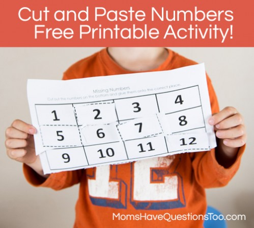 Missing Numbers Cut and Paste Worksheet - Moms Have Questions Too