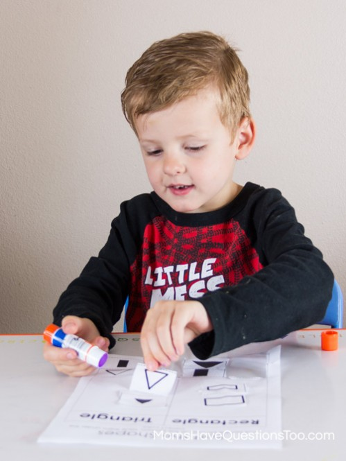 Placing Shapes - Shape Sorting Cut and Paste Activity - Moms Have Questions Too