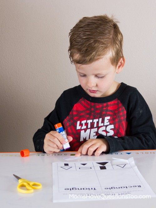 Shape Sorting Cut and Paste Activity - Moms Have Questions Too