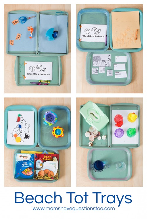 Beach Tot School Trays www.momshavequestionstoo.com