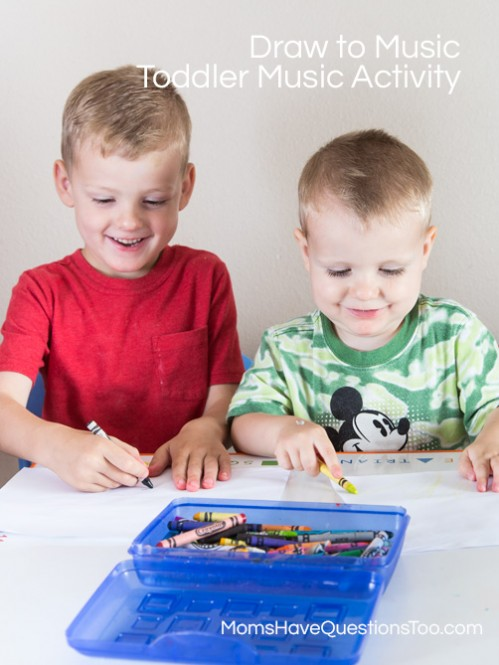 Draw to Music - Toddler Music Activities - www.momshavequestionstoo.com