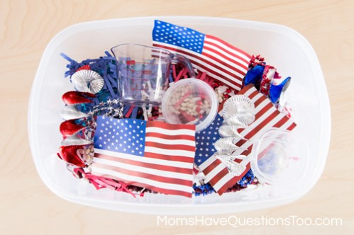 Flags in 4th of July Sensory Bin - www.momshavequestionstoo.com