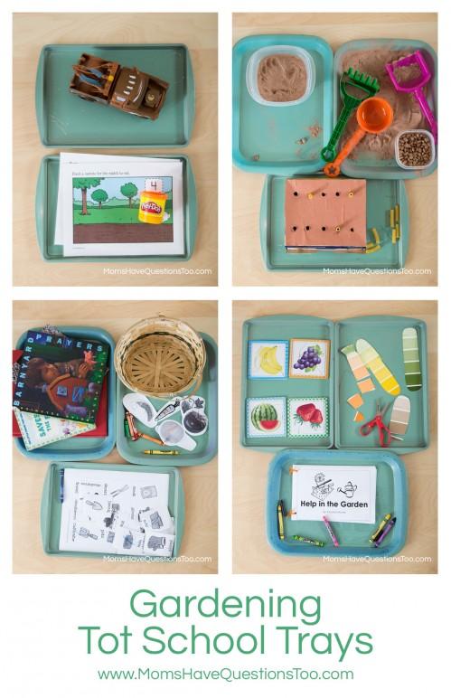 Gardening Tot School Trays - momshavequestionstoo.com