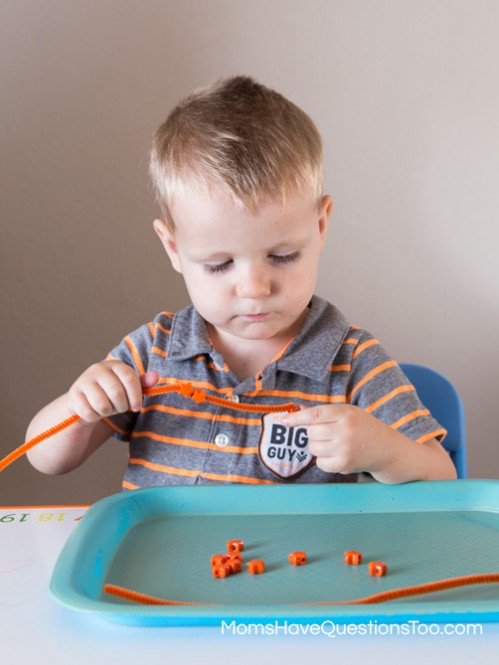 Beading onto Pipe Cleaners for Orange Tot School Trays - Moms Have Questions Too