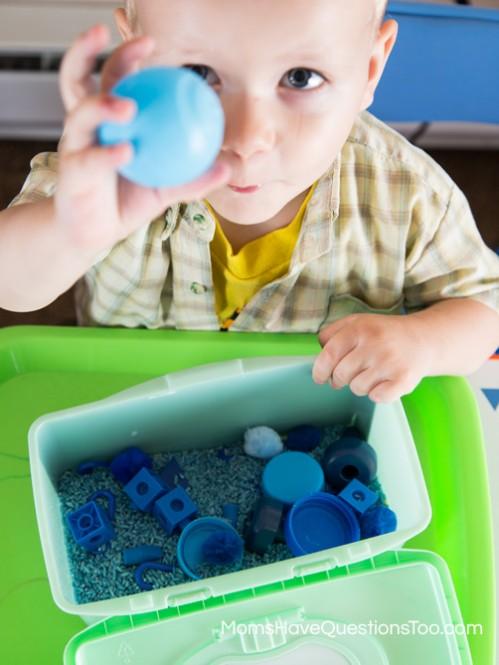 Blue Sensory Bin - Moms Have Questions Too