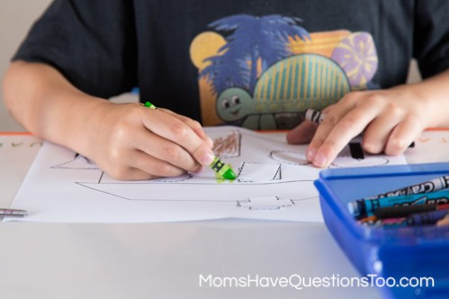 Coloring the house from the cut and paste activity - Moms Have Questions Too