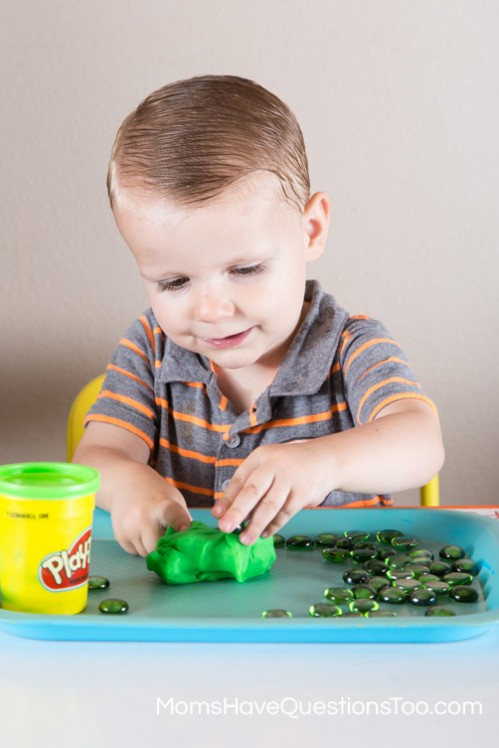 Green Gems with Green Play-doh - Moms Have Questions Too