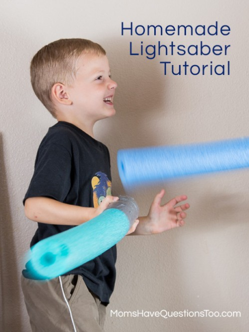 Lightsabers out of a fun noodle - Moms Have Questions Too