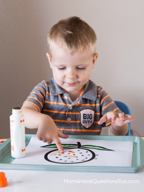 Orange Finger Painting with Dot Markers for Tot School Trays - Moms Have Questions Too