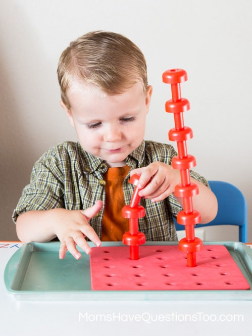 Use Pegboards to Help Teach Colors to Toddlers - Moms Have Questions Too