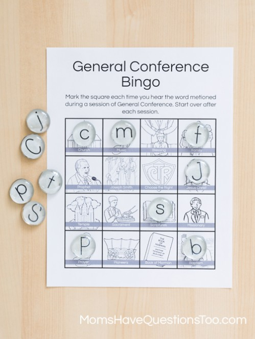 Flat Marble Alphabet for General Conference Bingo - Moms Have Questions Too