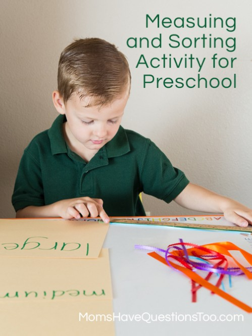Help your preschooler learn to measure and sort with this fun activity! Moms Have Questions Too