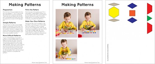 Pattern Blocks Activity Pack Sample Pages - Moms Have Questions Too