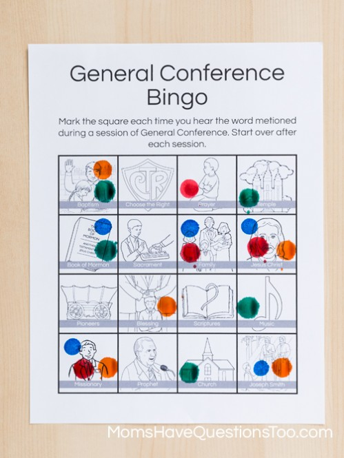 Use dot markers for General Conference Bingo - Moms Have Questions Too