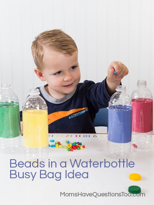 Busy Bad Idea - Beads in a Waterbottle Color Sorting - Moms Have Questions Too