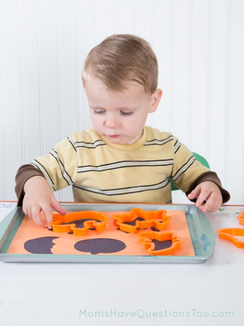 Cookie Cutter Shape Match Halloween Tot Tray - Moms Have Questions Too
