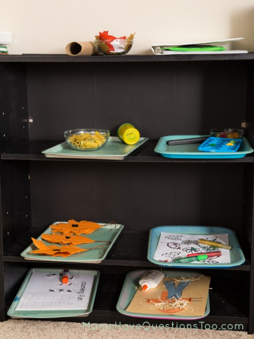 Tot School Trays on Shelves - Moms Have Questions Too