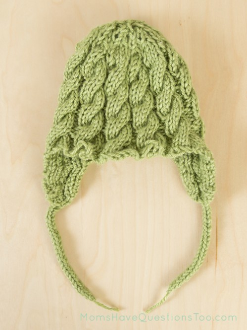 Cabled Ear Flap Hat Free Knitting Pattern - Moms Have Questions Too
