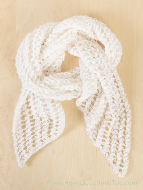 Lacy Scarf Free Knitting Pattern - Moms Have Questions Too
