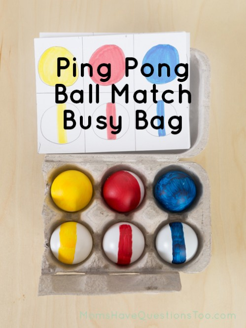 Simple and Fun Busy Bag Idea using Ping Pong Balls - Moms Have Questions Too