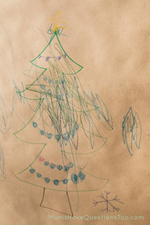 A wall mural makes for a fun Christmas Activity and Decoration at home - Moms Have Questions Too
