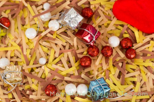 Contents of Christmas Sensory Bin - Moms Have Questions Too