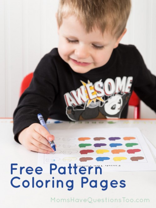 Free coloring pages to help your toddler or preschooler practice patterns - Moms Have Questions Too