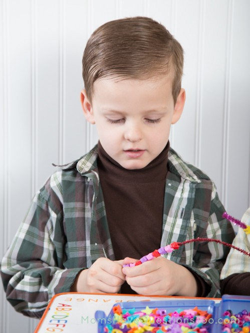 Use beads and pipe cleaners to make patterns - Moms Have Questions Too