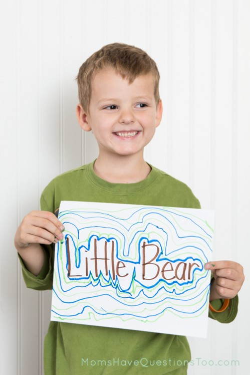Use markers to create fun patterns with your child's name - Moms Have Questions Too