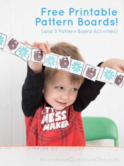 3 fun pattern activities for preschool that use pattern boards - Moms Have Questions Too
