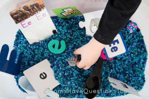 Letter E is for Extinct Sensory Bin - Moms Have Questions Too