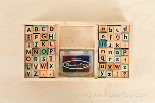 Melissa and Doug Alphabet Stamps Review, plus 5 ways to use alphabet stamps - Moms Have Questions Too